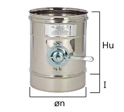 MT2S tubo a sezione circolare e serranda taratura fumi